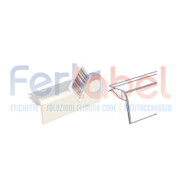 Profilo porta prezzo per ripiani in vetro basculante conf 100 pz in vendita - Vetro per porta prezzo ...