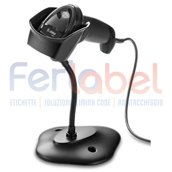 kit lettore zebra ds2208 area imager 2d nero, usb + cavo usb + stand