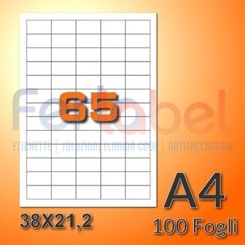 Etichette adesive 38x21,2mm in carta bianca