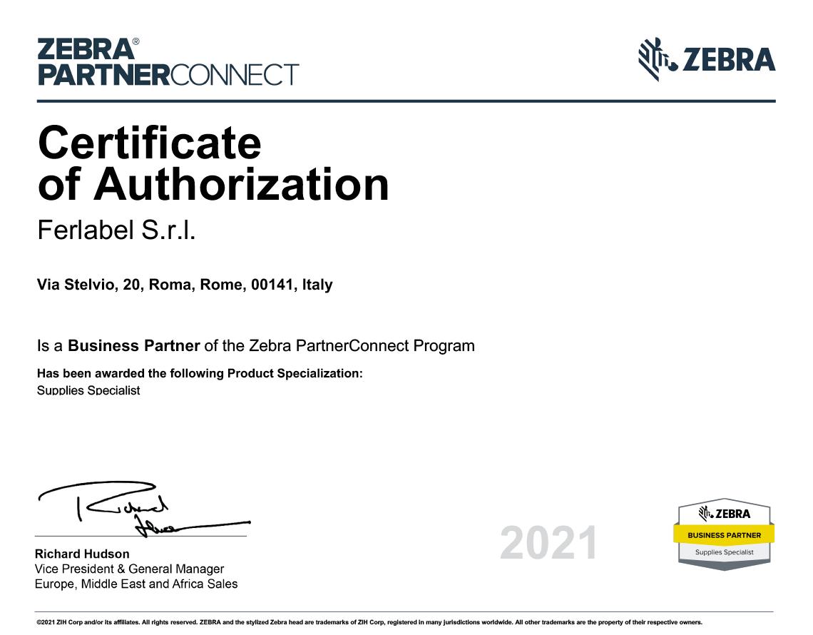Certificato di Autorizzazione Ferlable S.r.l